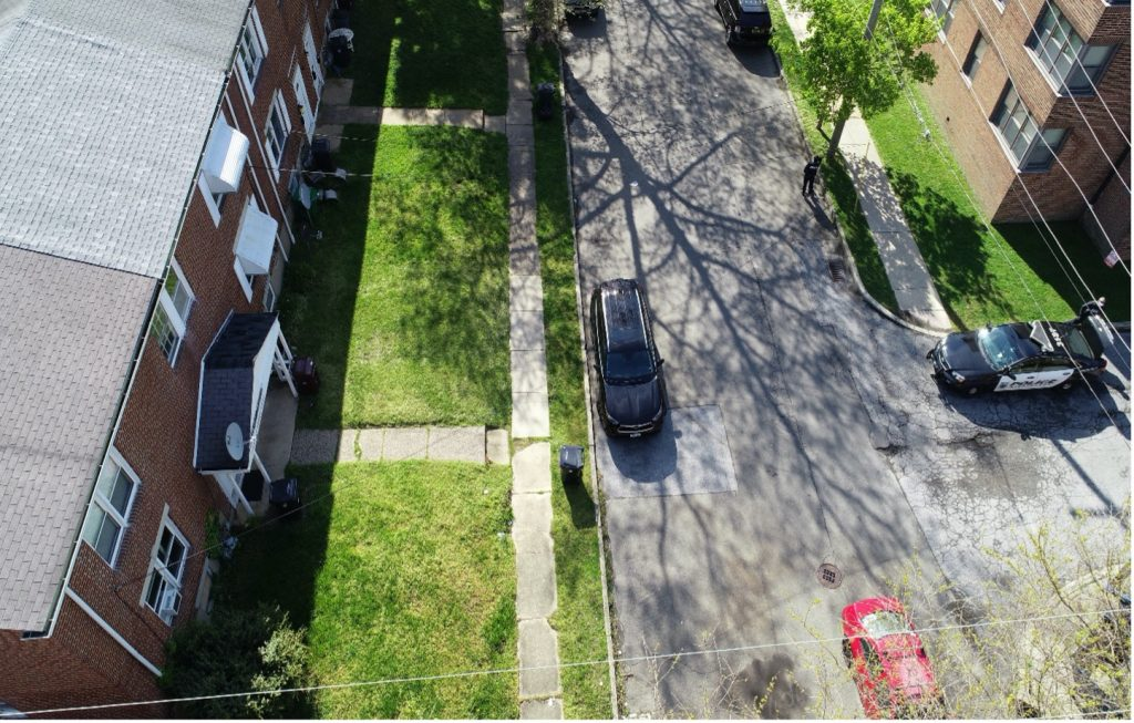 Drone footage, looking down on 3207 W. 2nd Street.