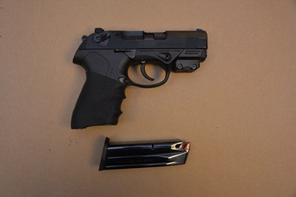 Beretta PX4 Storm 9mm caliber S/N PX187445, found with Francis