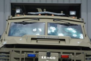 Damage to DSP armored vehicle