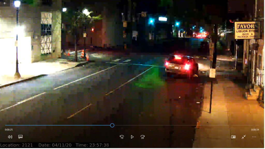 Walnut St Red light Camera minutes before Police Contact.