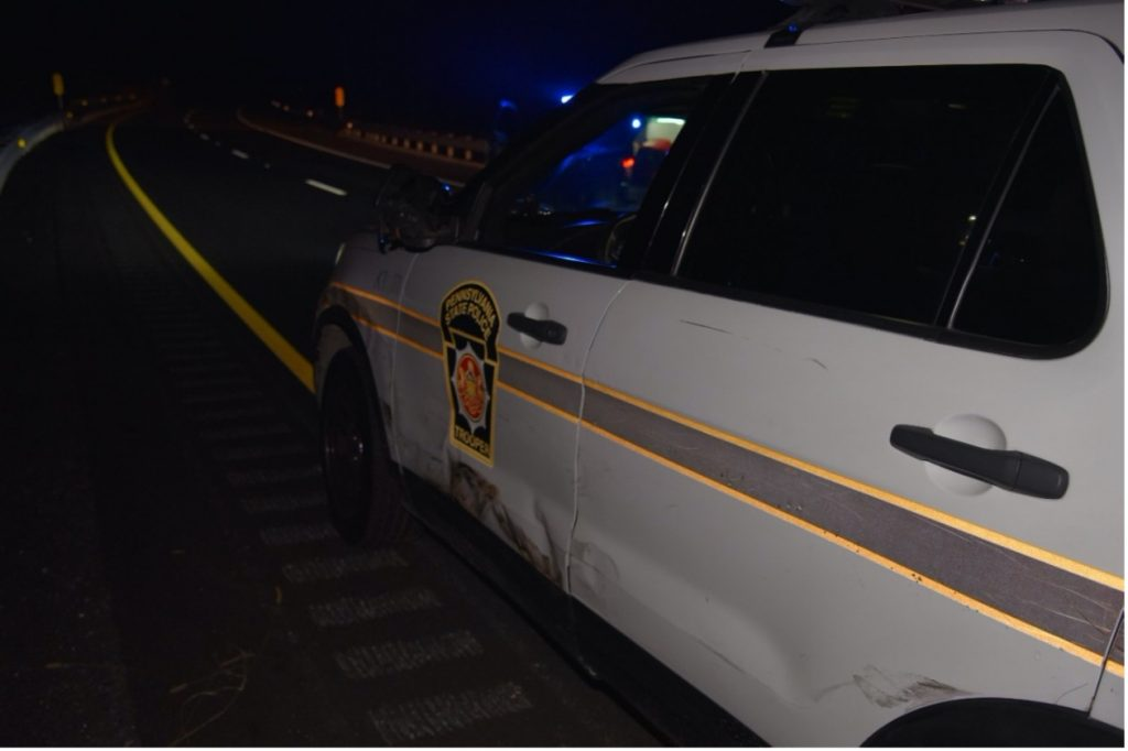 Photo showing additional damage to lead PSP vehicle.