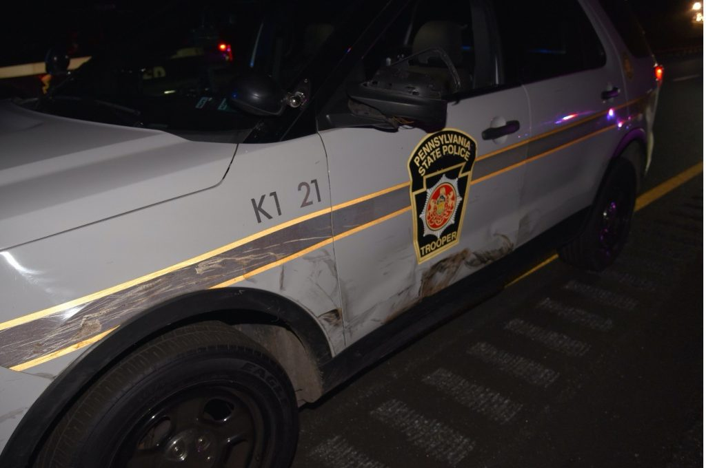 Damage to driver side of lead PSP vehicle, in a photo shortly after the incident.