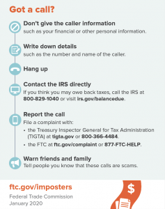 FTC IRS Imposter Scam infographic