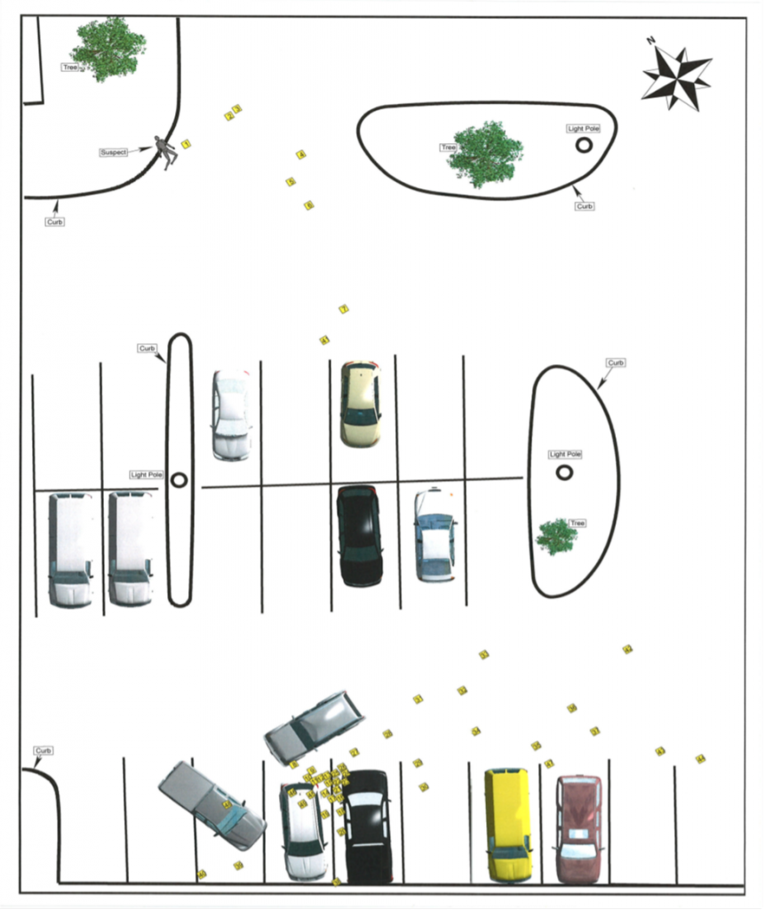 Figure 1, Sketch of Crime Scene showing the location of initial confrontation and the location of Rivera's body. Note: one police vehicle is absent as it immediately left the scene to transport Cpl. Webb to the hospital.