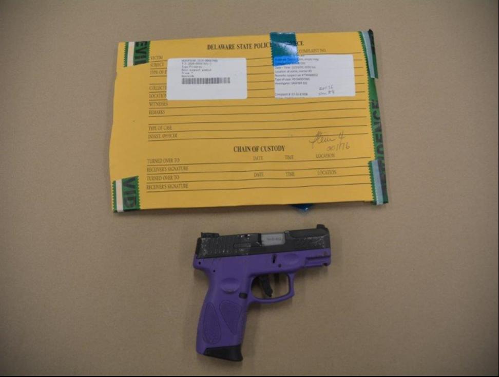 Purple and Black Taurus 9mm pistol, SN: TMA84832. Owned by Rivera's girlfriend.